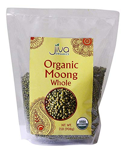 Jiva Organics Organic Mung Beans Whole 2 LB Bag - Green Moong Bean - Perfect for Cooking & Sprouting