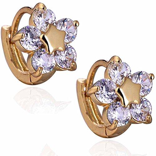 Yazilind elegante 14K Gold Filled embutido redondo claro cúbicos Circonita flor Pequeño Stud Pendientes de Idea regalo de las mujeres