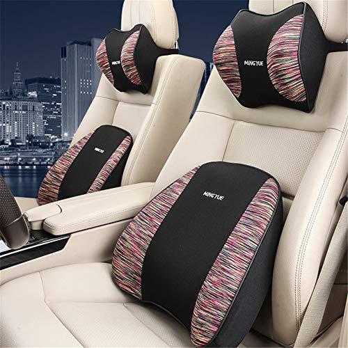 ZYJFP neksteunkussen voor de lumbale wervelkolom, ergonomisch, geheugenkatoen, met neksteun, voor pijnverlichting, voor autostoel, bureaustoel, kleur