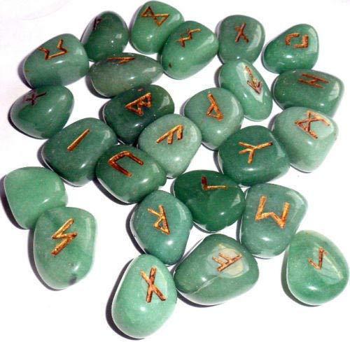 Healing Crystals India Runes, Crystals and Healing Stones Rune Set, Wicca Divination Rune Stones ,Viking Runes ,Pagan and Witchcraft Supplies,Runes for Beginners, Green Aventurine