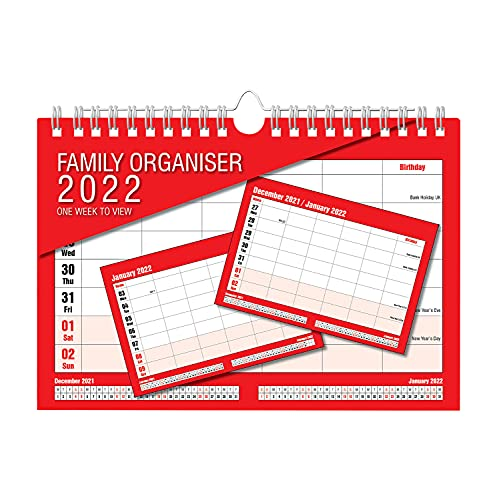 2022 Family Organiser Calendar – One Week to View Planner – Space for up to 5 People by Arpan