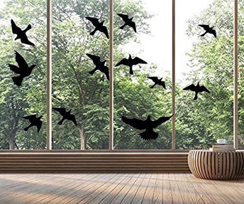 Pegatinas para ventana con diseño de siluetas y pájaros (12 siluetas de...