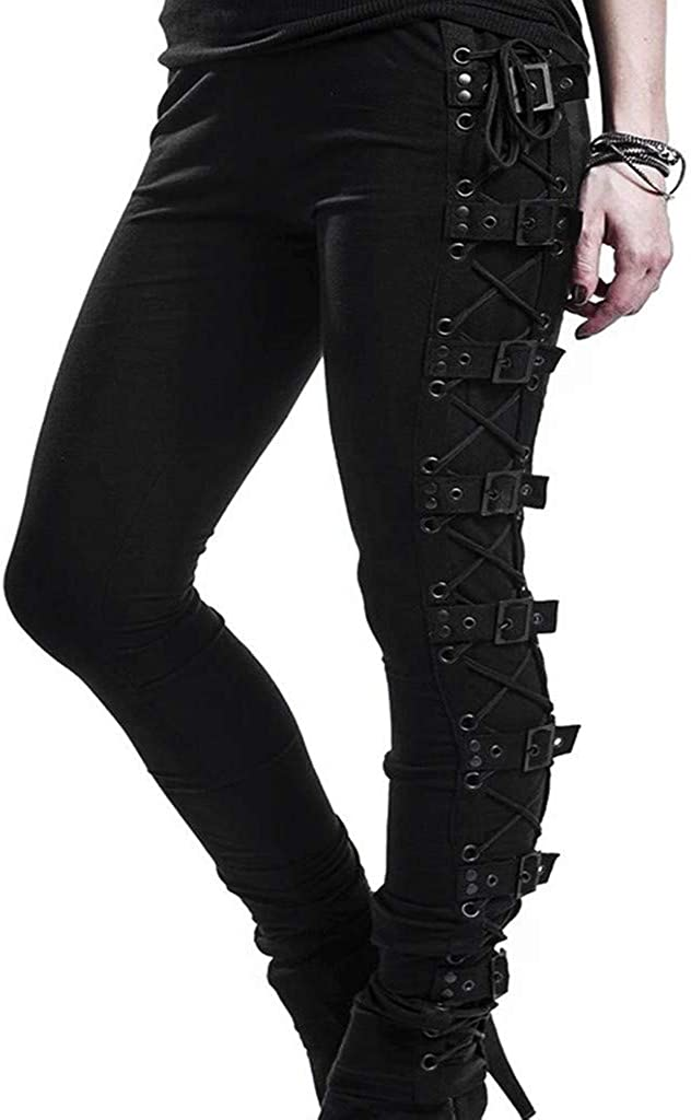 HIKO23 Women Max 82% OFF Gothic Pants Buckle Credence Rivet Strap Style Steampunk Ski