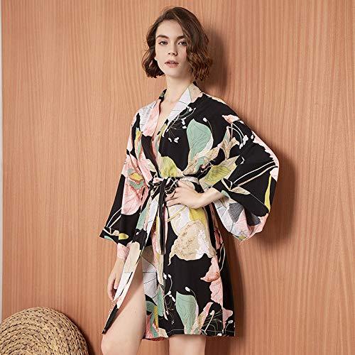 Kimono Mujer Bata Algodón Fino Estampado Mangas Largas V-Cuello Camisón Noviasmaid Vestido De Novia Vestido Negro, Soft Cosy Loungewear Y Albornoz Utilizado para Bodas Vestidos Casuales, Pijamas Ca