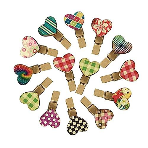 50 Pezzi Molletta Legno Clip,Clip In Legno a Forma Cuore,Clip In Legno Fai Te a Colori,Clip In Legno Foto,per Scrapbook Carta Fotografica Pittura Decorazione Festa(Colore Casuale)