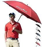 Athletico Golfschirm mit automatischer Öffnung, extra groß, doppelter Bespannung, Winddicht und wasserdicht, mit ergonomischem Gummigriff 68 inch weinrot