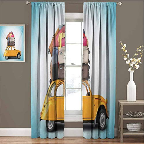 Toopeek Travel Blackout Curtain Set Old Fashioned Car Auto with Bunch of Luggage on The Roof Happy Summer Holiday Print Kindergarten Shading Insulation W72 x L72 Inch Multicolor