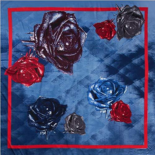 JS-Bonita Seidenschal Damen 130cm Twill Seide Großdruck Quadrat Schal Schal (Color : 01)