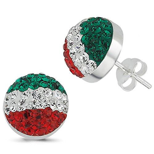 Vinani Ohrstecker unisex Italien Fahne bandiera tricolore grün weiß rot Zirkonia Steine Fußball Sterling Silber 925 Ohrringe Flagge 2OFI