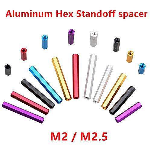 10 piezas M2 M2.5 Separadores de aluminio Espaciador de aluminio hexagonal Tornillos de espaciado de columnas para piezas de modelos RC, Rojo, M2