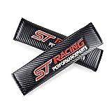 AKMEYI 2 Piezas Almohadillas para Cinturón de Seguridad de Cuero para Fo-Rd Focus 2 3 4 ST Racing Mondeo Kuga Mk4, Fibra de Carbono Almohadillas Protectores de Coche Hombro, con Logo Bordado