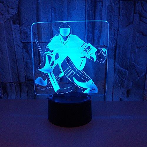 HNXDP Eishockey 3D Nachtlicht Acryl USB Bunte Stimmungslichter Remote Touch Atmosphäre Lampe Stimmungslicht Tisch 3D Illusion Lampe