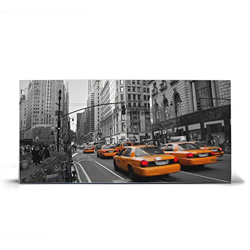 banjado Design Magnettafel grau | Wandtafel magnetisch 37x78cm groß | Metall Pinnwand | Memoboard mit Magneten und Montageset | Motiv New York Taxi