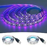 KXZM Tira de luz negra LED UV de 5 V alimentada por USB, 2 m x 2 piezas 120 LEDs púrpura 395-400 nm flexible SMD2835 no...