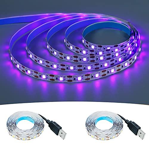 KXZM Tira de luz negra LED UV de 5 V alimentada por USB, 2 m x 2 piezas 120 LEDs púrpura 395-400 nm flexible SMD2835 no impermeable IP33 luces de cinta LED (solo tira)