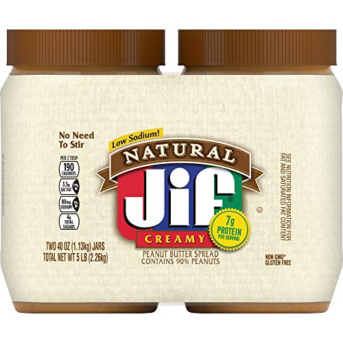 Jif Natural Creamy Peanut Butter Twin Pack 240 Ounces Pack of 4 7g 7% DV of Protein per Serving Smooth Creamy Texture No Stir Natural Peanut Butter