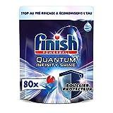 Finish Pastilles Lave-Vaisselle Quantum Infinity Shine Nettoyage Puissant avec Formule de Protection Spéciale pour Verres/Vaisselle/Argenterie Pack Economique, Bleu, 80 Capsules