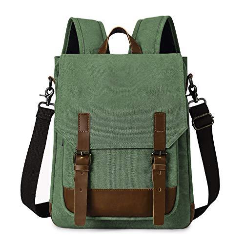 TAK Vintage Rucksack 2 in 1 Laptop Backpack mit USB Laptopfach Schulrucksack Tagesrucksack für Damen Herren, Grün
