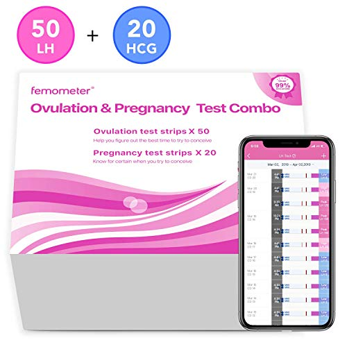 Femometer 50 Ovulation Test Strips and 20 Pregnancy Test Strips Combo kit,OPK