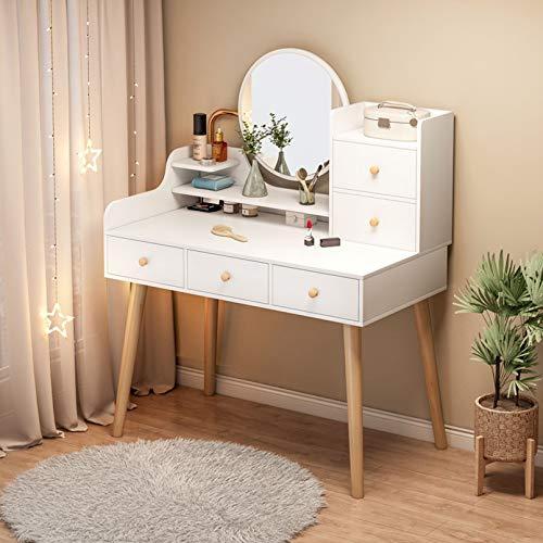 Weißes Massivholz-Kosmetikset mit LED-Spiegel, 3-Farben-Touchscreen-Dimmspiegel, einstellbare Helligkeit, Make-up-Schminktisch mit 4 Schubladen, Schmuck-Organizer