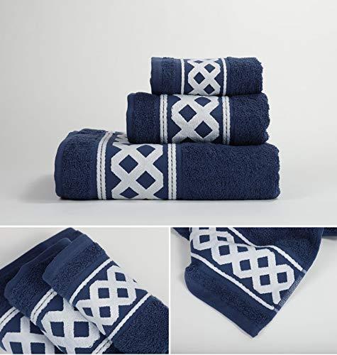 Energy Colors Textil - Hogar - Cenefa Turca - Juego de Toalla 3 Piezas 100% Algodón de 500 Gramos (Azul Marino)