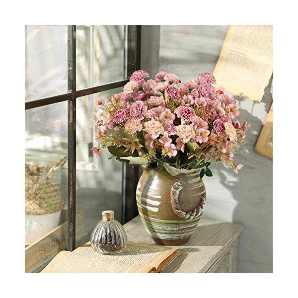 XHXSTORE 4pcs Flores Artificiales Claveles de Seda Ramo de Flores Artificiales 5 Ramas con 11 Flores para Decoración…