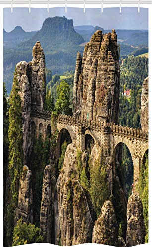 ABAKUHAUS Middeleeuws Douchegordijn, Duitsland Middeleeuwen, voor Douchecabine Stoffen Badkamer Decoratie Set met Ophangringen, 120 x 180 cm, Grijs groen
