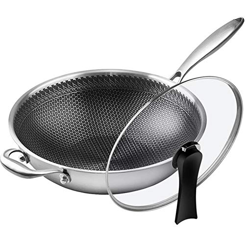 KPOON Non Stick Wok 304 Stainless Steel Non-stick Pan Household Frying Pan