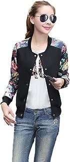Women's Floral Print Baseball Bomber Jacket Varsity Coat Short Button Closure Outwear Top