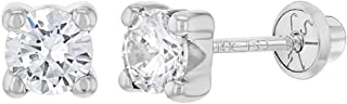 14k White Gold Clear CZ Four Prong Set Solitaire Screw Back Earrings Girls