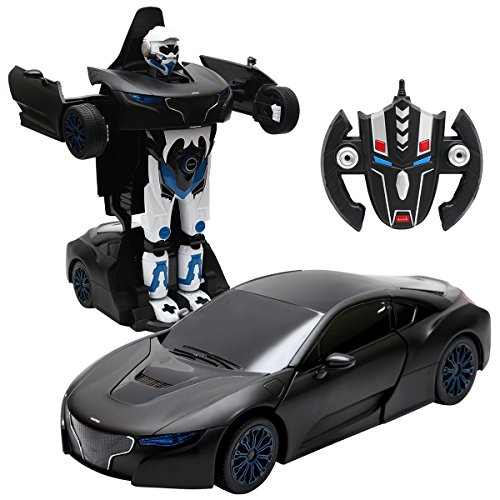 COSTWAY 2,4 GHZ RC Transformator Roboter-Auto, Ferngesteuert Auto & Robot, Kinderspielzeug verwandelbar 1:14RS (schwarz)
