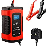 Nanssigy Car Battery Charger, Battery Maintainer, 12V 4A Fully Automatic Battery Charger with LCD Screen, Maintains and Reconditions Car and Motorcycle Batteries