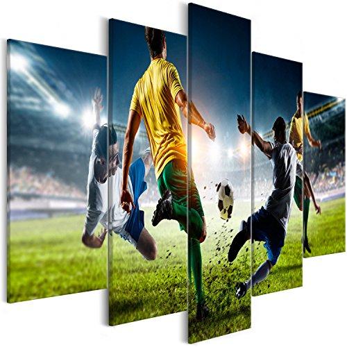 murando Cuadro en Lienzo fútbol 200x100 cm Impresión de 5 Piezas Material Tejido no Tejido Impresión Artística Imagen Gráfica Decoracion de Pared Deporte i-B-0051-b-m