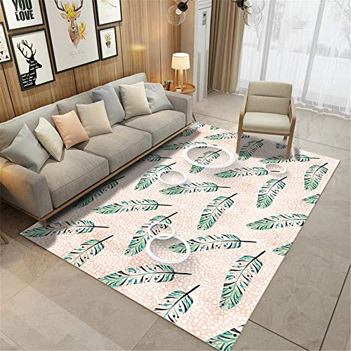 Decoracion hogar Salon,Patrón de Plumas Verde, Alfombra Transpirable Casual cómodo de Agua ,alfombras de Salon -Verde_80x160cm