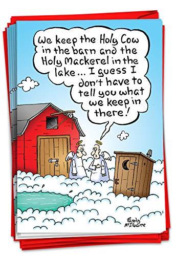NobleWorks - Box of 12 Cartoon Christmas Cards - Funny Adult Holiday Greeting Cards, Festive Notecard Set Bulk (1 Design, 12 Cards) - Holy Sh-t B1893