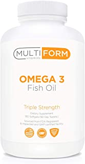 Multiform Vitamins Omega 3 Fish Oil - 2,000mg - Burpless, Non-GMO, No Fishy Aftertaste (180 Capsules)