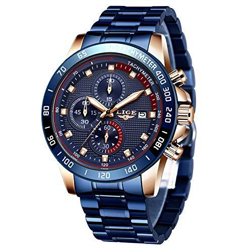 LIGE Reloj para Hombre Cronógrafo Correa de Acero Inoxidable Impermeable Deportes Negocios Casual Caballero Reloj Azul