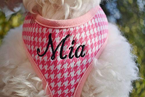 Personalized Custom Pink Houndstooth Plaid Padded DOG HARNESS | Adjustable Ultra Soft and Comfortable | Embroidered Name Option | Handmade in USA