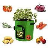 sokey Pflanzsack, kartoffel pflanzbeutel,Grow Planter Bags l Gartenpflanzentöpfe I Natürliche Belüftung für den Anbau gesunder Kartoffelgemüse und -Pflanzen - 2 Pack
