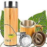 TeaFuz - Botella térmica de doble pared y taza de bambú, infusor de té, fruta y café, con filtro de acero inoxidable, taza de viaje y trabajo, termo portátil de bambú 500 ml