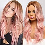 EMMOR Peluca larga rosa para mujer - Cabello natural Parte media Pelucas sintéticas rizadas Raíz oscura, Fiesta Cosplay Uso diario (2 gorro de peluca gratis)