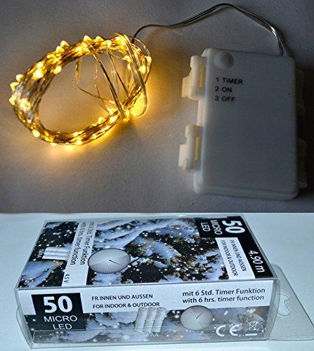 Markenlos Guirlande Lumineuse de Noël avec 50 microns et Fonctionnement sur Piles pour l'intérieur et l'extérieur - Guirlande de Sapin de Noël - Guirlande de Noël - Guirlande de Noël