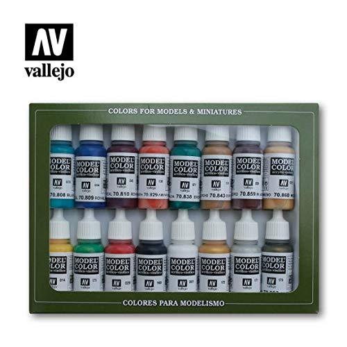 Lot de 16 Acylicos Vallejo VJ70125 Vallejo Modèle de visage Peau Couleurs Peinture acrylique de couleur–Couleurs assorties