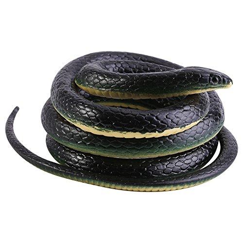 VBESTLIFE Serpiente de goma, 130 cm de largo, realista, suave, juguete para animales, artículo de broma para regalo