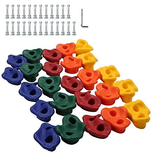Hengda Kinder Klettergriffe 25 Stück Klettersteine Starterset, Kletterwand Bouldersteine für Spielturm mit Befestigungsmaterial
