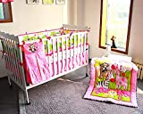 BabyCrib Unique Cute Adorable Zebra and Monkey in the Jungle, Pink Flowers, 10 Piece Bedding Set, Including Crib Bumper, Diaper Stacker, and Bonus Baby Monthly Milestone Blanket For Newborn Baby Girl.