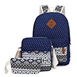 Casual Daypack Laptop Backpacks 3 Pcs Set Travel Backpack Canvas Dot Backpack fit All Men Women (Dark Blue-Vintage)