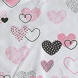 MAMANDU Tela de algodón por metro, para costura, patchwork, tela de algodón, con certificación Öko-Tex, (corazones blanco/rosa), 50 x 160 cm