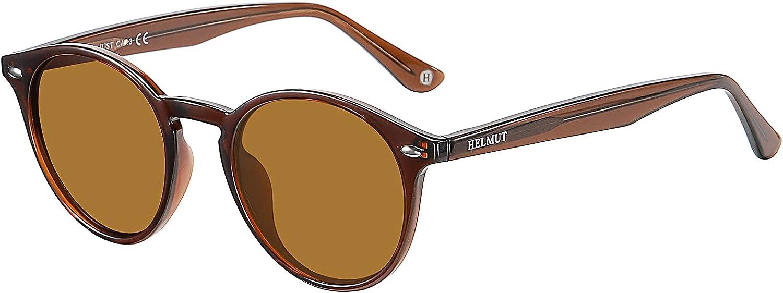 H HELMUT JUST Gafas De Sol para Mujer Hombre Redondas Vintage Polarizadas Unisex TR90 y Acetato