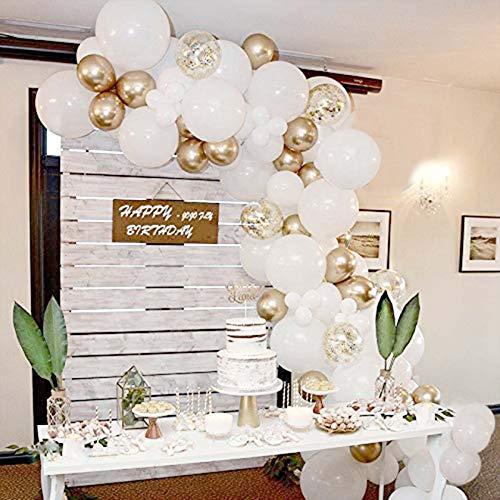 Bellatoi - Juego de 70 guirnaldas de globos dorados y blancos con forma de arco, globos de confeti dorados, globos de látex para cumpleaños, bodas, aniversario, baby shower, fiesta